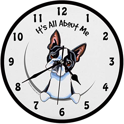 BCWAYGOD Boston Terrier Wall Clock It's All About Me Silent Non Ticking Home Art Bedroom Living Dorm Room Decor 12inch