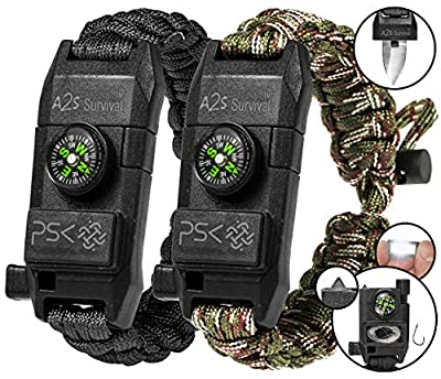 PSK Paracord Bracelet 8-in-1 Personal Survival Kit Urban & Outdoors Survival Knife, Fire Starter, Glass Breaker, Survival Whistle, Signal Mirror, Fishing Hook & String, Compass (Black - Green Camo)