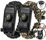 PSK Paracord Bracelet 8-in-1 Personal Survival Kit Urban & Outdoors Survival Knife, Fire Starter, Glass Breaker, Survival Whistle, Signal Mirror, Fishing Hook & String, Compass (Black - USA Flag)