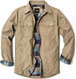 CQR Men's Flannel Lined Shirt Jackets, Long Sleeved Rugged Plaid Cotton Brushed Suede Shirt Jacket, Flannel Lined(hok700) - Cowboy Tan, Medium