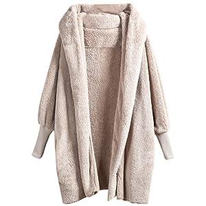 SweatyRocks Women Khaki Hooded Dolman Sleeve Faux Fur Cardigan Coat for Winter