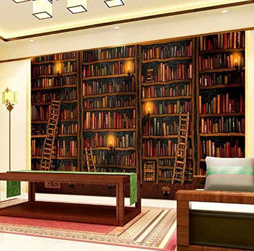3D vliesbehang plantenvezel 3D wallpaper klassieke boekenkast olieverfschilderij fotobehang studie bibliotheek woonkamer achtergrond muur wooncultuur 400*280 400 x 280 cm.