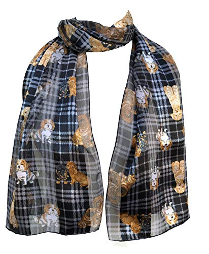 Pamper Yourself Now Schwarzen Tartan glänzend Hund Schal mit verschiedenen Hunderassen, dünnen langen Schall-Black tartan shiny dog with different dog breeds, thin long scarf
