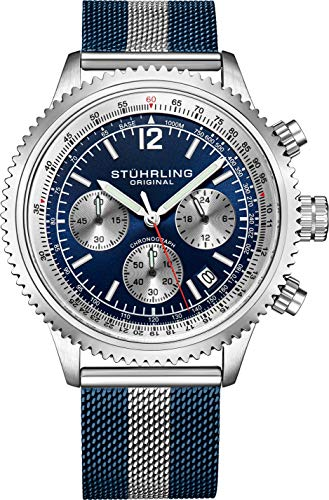 Stuhrling Original Mens Dress Watch - Chronograph Wrist Watch with Tachymeter 24-Hour Subdial (Blue)