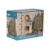ANSIO Árbol de Navidad Luces 750 LED 18,75m Blanco cálido Luces interiores/exteriores Decoraciones Luces de cuerda de hadas Alimentación principal 61 pies Longitud encendida Cable verde