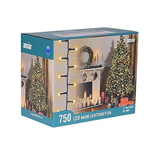 ANSIO Luci natalizie per interni e esterno 750 LED albero luci Bianco caldo, 8 modalità con memoria e funzione timer, alimentate, trasformatore incluso 18,75 m Lunghezza illuminata- CAVO VERDE