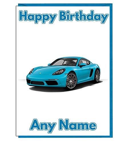 AK Giftshop Personalisierbar Blau Porsche Sports Car Geburtstagskarte–hinzufügen Eine Mottoparty Name und Alter