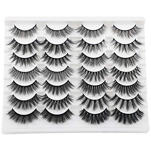 JIMIRE 14 Styles Mixed False Eyelashes Fluffy Fake Lashes Natural 3D Volume Faux Mink Lashes Pack