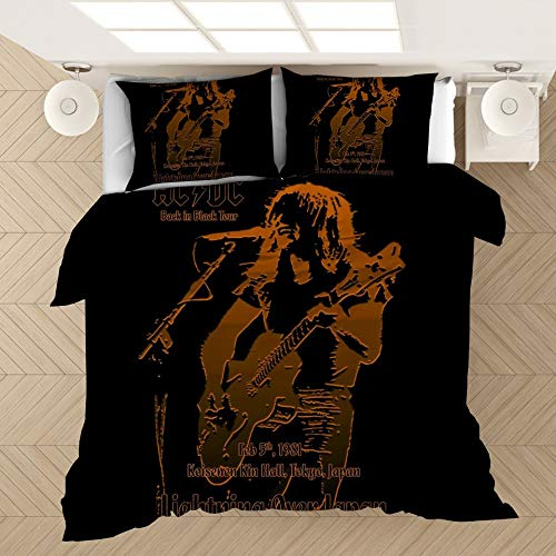 LXFDZ Duvet Cover Sets ACDC Comfortable Bedding Quilting Bedroom Set 100% Microfiber 1 Duvet Cover + 2 Pillowcases Soft Breathable (Color : C, Size : AU Queen210x210cm)