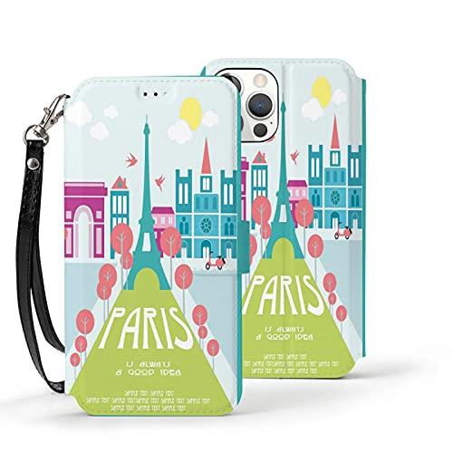 Funda para iPhone 12,Funda Tipo Cartera para iPhone 12 con Tarjetero,diseño de Tarjeta Paris,Funda Protectora Interior de TPU a Prueba de Golpes para iPhone 12 de 6.1 Pulgadas
