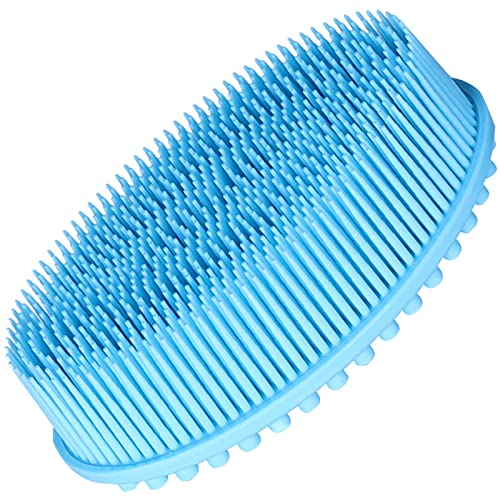 Upgrade 2 in 1 Bath and Shampoo Brush, Exfoliating Body Brush, Premium Silicone Loofah, Head Scrubber, Scalp Massager/Brush, Wet and Dry,And More Hygienic Than Traditional Loofah (Blue)