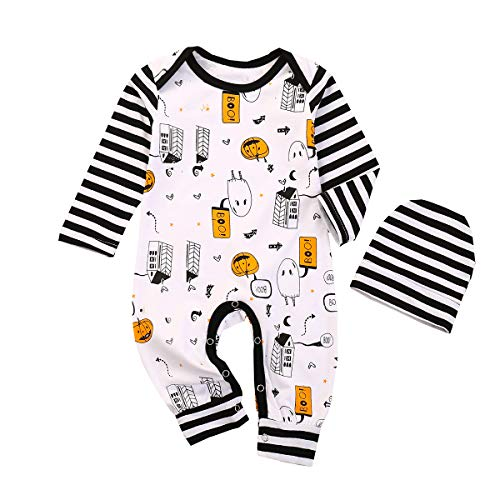 My 1st Halloween Pumpkin Romper Infant Baby Boys Girls Striped Jumpsuit Bodysuit One-Piece with Hat Outfit Clothes (Halloween-2, 18-24Months)