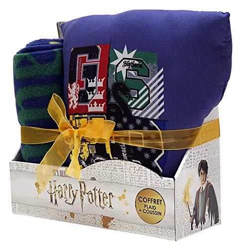 Sahinler Coffret cojín + Plaid Harry Potter, 100% poliéster, Azul, 100x...