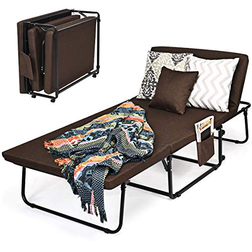 COSTWAY 3-in-1 Folding Sofa Bed with Pillow, Wheels and Dust Cover, 6 Adjustable Angle Portable Sleep Coach Chaise, Home Office Living Room Bedroom Convertible Sofa Seat Lounger (Coffee)