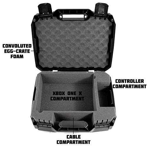 CASEMATIX Console Case made For Xbox One X 1TB , Project Scorpion Edition , One X Controller , HDMI Cable , and Games - Designed For Gamers Who Travel - Impact Resistant Shell