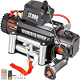 VEVOR Truck Winch 12000Ibs Electric Winch 94ft/28.6m Cable Steel 12V Power Winch Jeep Winch with Wireless Remote Control and Powerful Motor for UTV ATV & Jeep Truck Wrangler in Car Lift