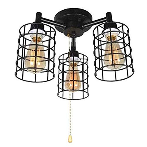 Retro Deckenleuchte E27x3 LED Deckenlampe mit Zugschalter, Schwarze Pendelleuchte Schmiedeeisen Käfig Hängeleuchten Innenbeleuchtung Dekoration für Wohnzimmer Schlafzimmer Restaurant Küche Korridor
