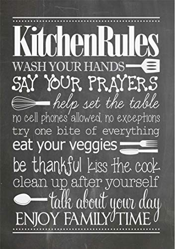 HK Studio Kitchen Rules Wall Decor, Family Rules Wall Art with Meaningful Educated Messages, Vinyl Wall Decals Quotes, Home Decorations for Living Room, Kitchen Decorations Wall, Pack 2