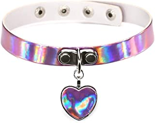 Corcrest Kawaii Women Lady Girl Harajuku Handmade Laser Leather Buckle Collar Necklace Punk Rock Heart Pendant Choker Necklace
