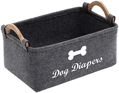 Geyecete Hondenluier Organizer - Huisdier Opbergmand voor het veranderen van tafel en auto - Hondenregister en hond Douche Moet Haves - Reisorganisator voor luiers, hondenkleding (grijs)