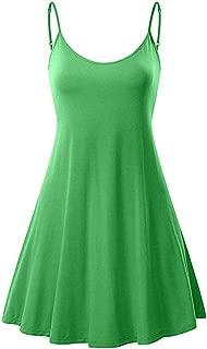 Tianjinrouyi Dress Women's Solid Strappy Short Mini Dress Tank Dress Beach Party Sundress
