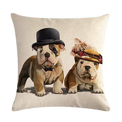 SLS Cute Pair of pet Dogs Bulldog Cotton Linen Decorative Throw Pillow Case Cushion Cover Pillow case 18' X18 Throw Pillow Cover