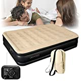 Crystals Inflatable High Raised Double Air Bed Mattress With Builtin Electric Pump