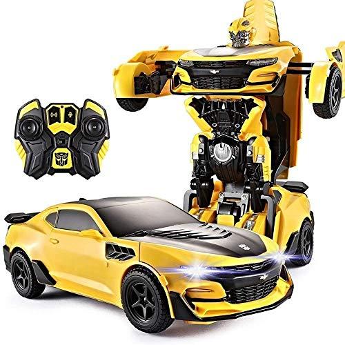 YYQIANG Refrigera con un clic de deformación mando a distancia de autobots, alta simulación 12.01, gran coche de carreras RC con faros LED recargables, eléctrico 2,4 G, modelo de coche para aficiones.