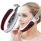 ZSH Instrument de beauté, Appareil de Massage Facial Micro-Courant à artefact de Visage Mince, Instrument de beauté Paresseux Intelligent de Peau de Masseter,Rouge