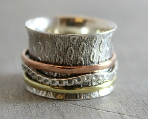 Sterling Silver Leaf Bohemian Fidget Worry Spinning Ring Size 6