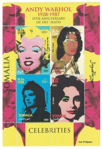Briefmarkenblock aus Somalia für Sammler, gezähnt, Motiv: Andy Warhol: Marilyn Monroe. Mick Jagger, Jackie Kennedy, Liz Taylor