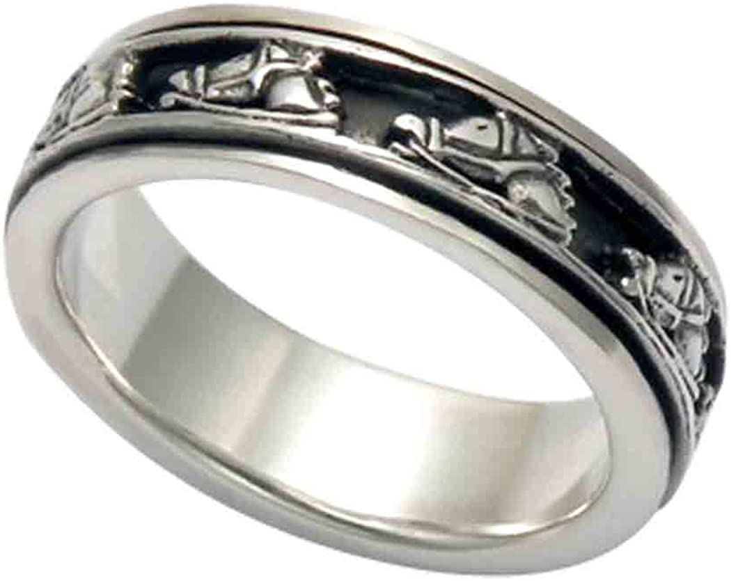 Wildthings Ltd. Max 65% OFF 1 year warranty Sterling Silver Horse Band Ring Spinner Head