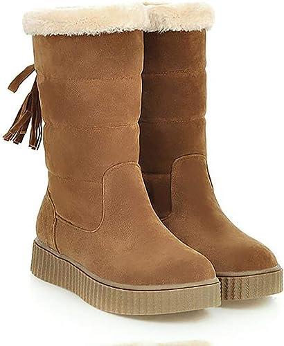 ZHRUI botas de Nieve para mujer zapatos de algodón de Invierno Impermeables, cálidas y acogedoras botas para la Nieve, marrón, 38 (Color   marrón, tamaño   42)