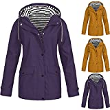 Outdoor Workout Coat For Women Daily Solid Color Rain Jackets Plus Size Waterproof Hooded Raincoat Windproof Tunic Top Purple