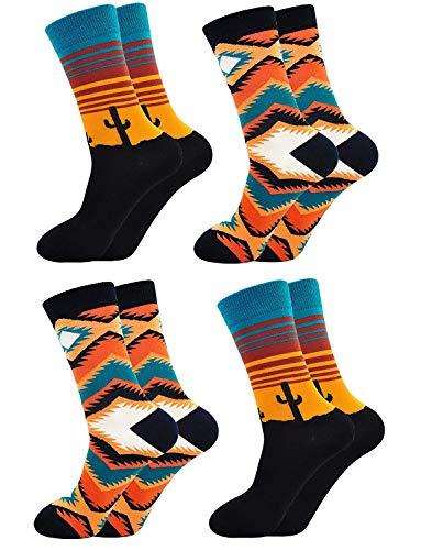 Calcetines Estampados Hombre Diseño Elegante Calcetines de Colores. Algodón, Talla: 39-44- 4 pares.