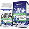 Sambucus Elderberry Immune Support - Black Elderberry Immune Booster for Adults - 60ct Elderberry Capsules with 100% Vitamin C - Elderberry Extract, Zinc Vitamin & Vitamin C Supplement - 30 Day Supply