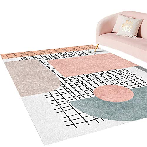 LMDY carpet modern light luxury style home living room carpet bedroom bedside floor mats hotel colorful abstract geometric decorative carpet120*200cm