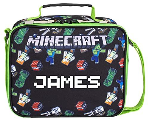 Minecraft - Minecraft World Personalisierte Lunchtasche – Kinder-Lunchbox – Offizielles Minecraft-Merchandise-Produkt – Personalisierte isolierte Lunchtasche für Minecraft-Fans