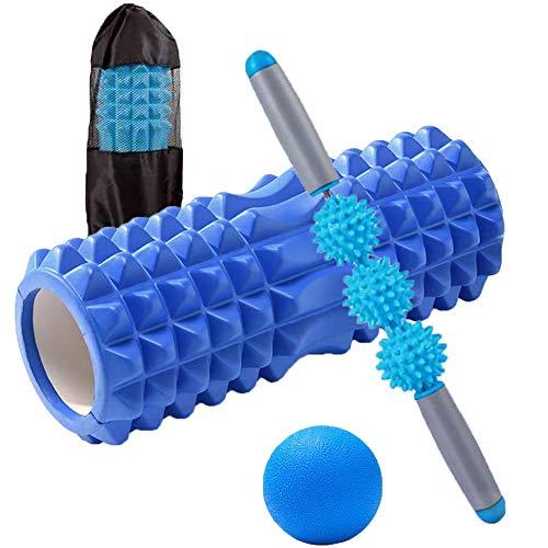 Happyee フォームローラー 筋膜リリース ローラー 4点セット 収納袋付き ヨガポール ストレッチローラー ダイエット器具 トレーニング 腰痛・肩コリ・筋肉痛・ストレス解消 (ブルー)