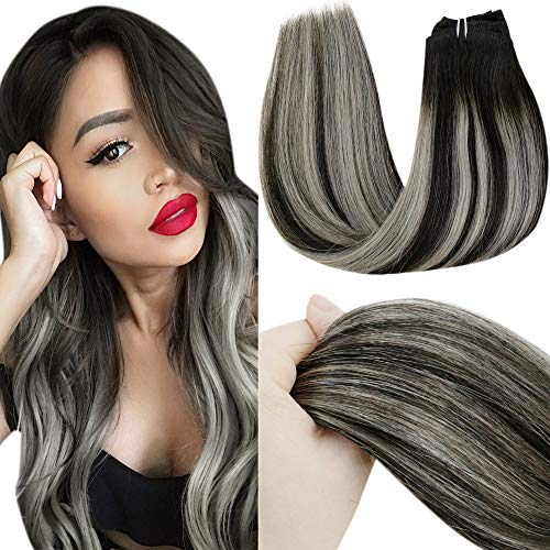 LaaVoo Clip in Alta Qualità Human Hair Extensions Nero Naturale #1B Balayage Ombre Silver Extension Clip on Capelli Veri Lisci Great Lengths 120 Grammi 20 Pollici/50cm 7 Pcs