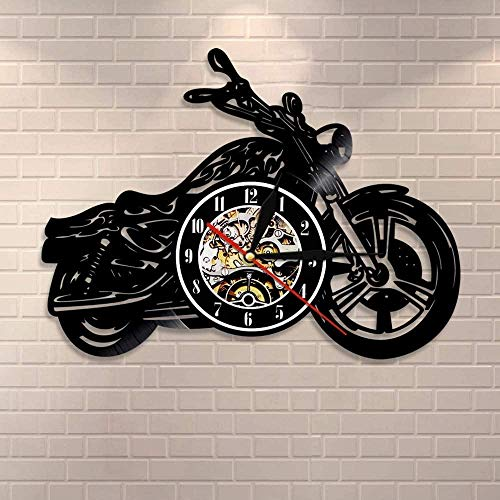 CCGGG Clásico Motocicleta Colgante de Pared Arte Reloj de Pared mecánico Motocicleta Coche Disco de Vinilo Reloj de Pared Motocicleta Rider Hombre Cueva Regalo
