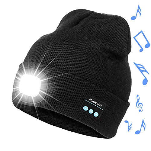 Bosttor Bluetooth Beanie Hat with Light, Upgraded Musical Knitted Cap with Headphone and Built-in Stereo Speakers & Mic, LED Hat for Running Hiking, Unisex for Men Women Teens, Black