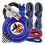 Complete 4 Channels 2000W Gravity 4 Gauge Amplifier Installation Wiring Kit Amp Pk3 4 Ga Blue - for Installer and DIY Hobbyist - Perfect for Car/Truck/Motorcycle/Rv/ATV
