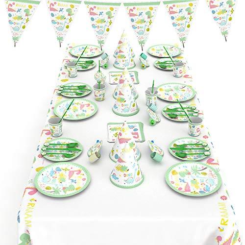 Pudu Geburtstagsfeier Lieferungen Jungen und Mädchen Dinosaurier Thema Party-Sets enthalten Geschirr Teller Tassen Strohhalme Für 6 Gäste 66 STK