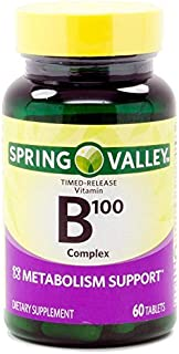 Spring Valley Natural Time Release B-Complex Metabolism Support B100, 60 Tablets by Spring Valley