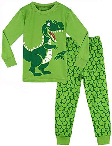 MOMBEBE COSLAND Jungen Dinosaurier Zweiteiliger Schlafanzug (7 Jahre, Grün)