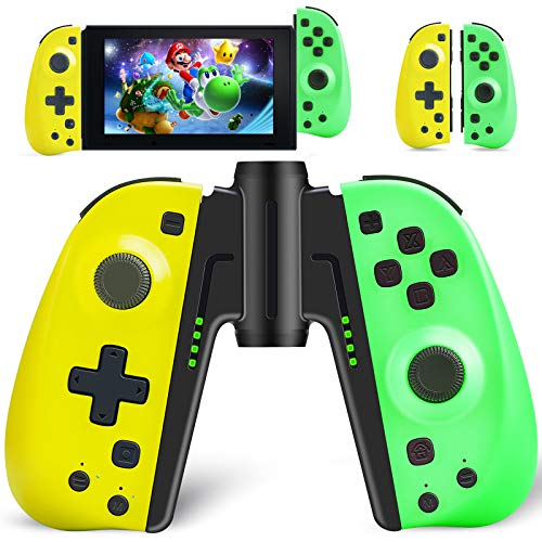 Joy Con Controller Replacement Campatiable for Nintendo Switch - Left and Right Neon Joy Pad, Macro Button/Turbo/Vibration/Motion Functions, Wired/Wireless L/R...