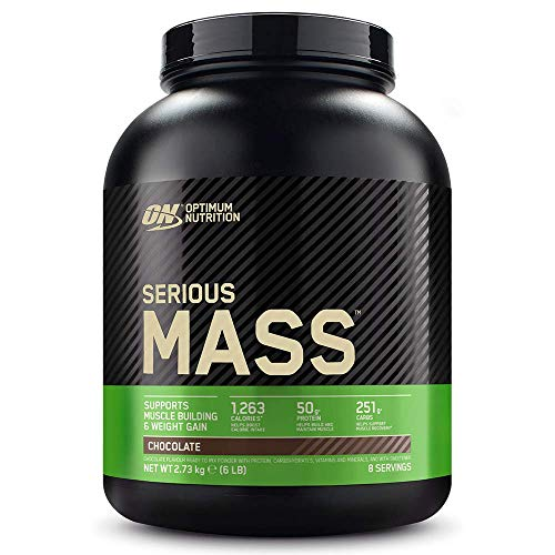 Optimum Nutrition Serious Mass Gainer, Proteine Whey in Polvere per Aumentare la Massa Muscolare con Creatina, Glutammina e Vitamine, Cioccolato, 8 Porzioni, 2.73 kg, il Packaging Potrebbe Variare