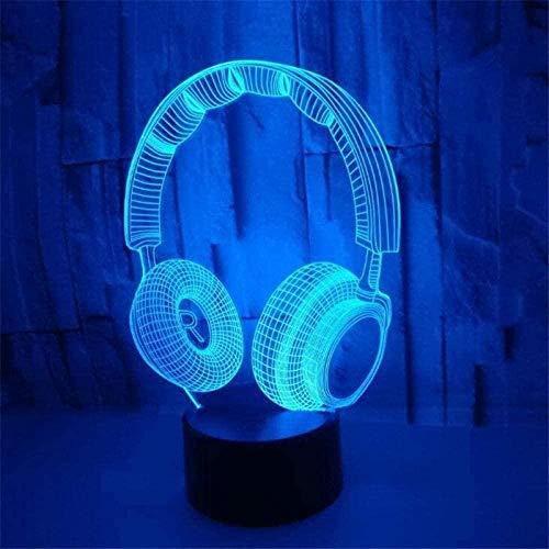 FYLART 3D Luz de Noche Auriculares 3D Luz de Noche LED Hogar Dormitorio Decoración Lámpara Niño Niños Regalo Lamparas Luminaria Lindo Decoración de Iluminación Auricular