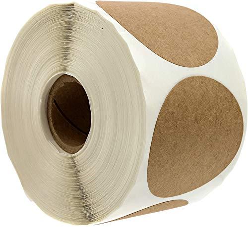 "2"" Natural Brown Kraft Stickers / 500 Labels per Roll/Permanent Adhesive"